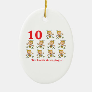 12 days ten lords a-leaping ceramic ornament