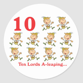12 days ten lords a-leaping classic round sticker