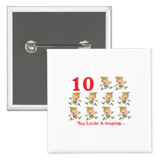 12 days ten lords a-leaping pinback button