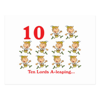 12 days ten lords a-leaping postcard