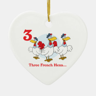 12 days three french hens ceramic ornament
