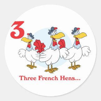 12 days three french hens classic round sticker