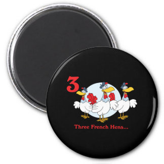 12 days three french hens refrigerator magnet