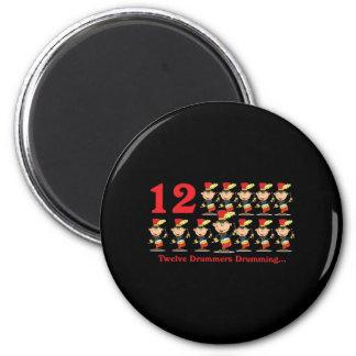 12 days twelve drummers drumming 2 inch round magnet