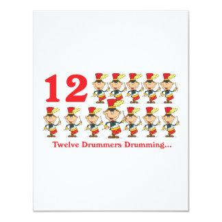 "12 days twelve drummers drumming 4.25"" x 5.5"" invitation card"