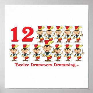 12 days twelve drummers drumming posters