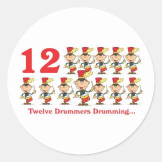 12 days twelve drummers drumming round stickers