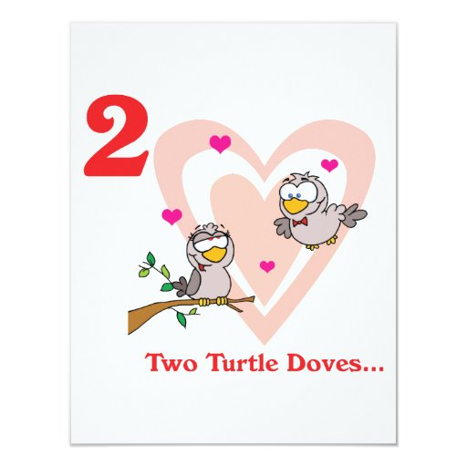 12 days two turtle doves 4.25x5.5 paper invitation card