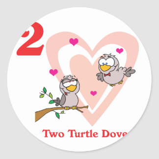 12 days two turtle doves classic round sticker
