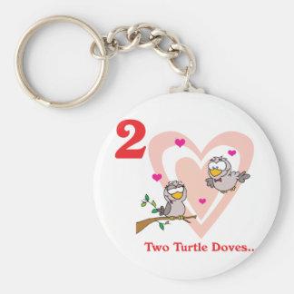 12 days two turtle doves basic round button keychain