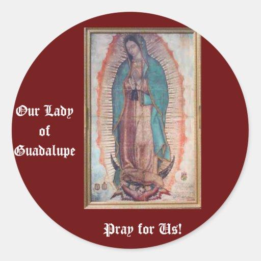 12 de diciembre   nuestra señora de Guadalupe Pegatina Redonda