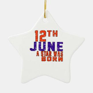 12 de junio una estrella nació adorno de cerámica en forma de estrella