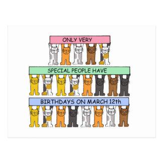 12 de marzo cumpleaños celebrados por los gatos postal