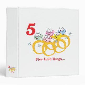 """12 días cinco anillos de oro carpeta 1 1/2"""""""