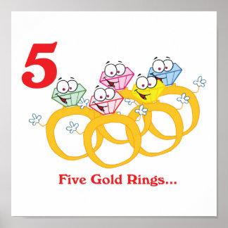 12 días cinco anillos de oro impresiones