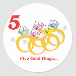 12 días cinco anillos de oro pegatina redonda