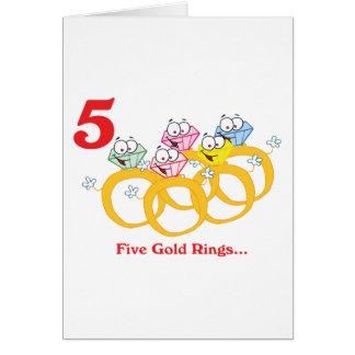 12 días cinco anillos de oro tarjeta de felicitación