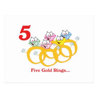12 días cinco anillos de oro tarjeta postal