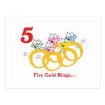12 días cinco anillos de oro tarjetas postales