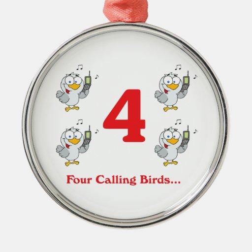 12 días cuatro pájaros de llamada ornamentos de navidad