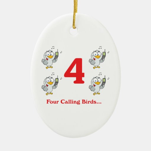 12 días cuatro pájaros de llamada adorno ovalado de cerámica