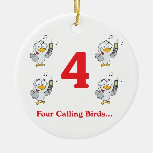 12 días cuatro pájaros de llamada adorno redondo de cerámica