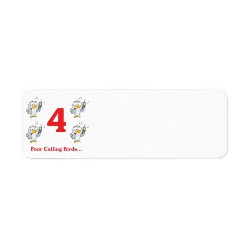 12 días cuatro pájaros de llamada etiqueta de remite