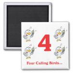 12 días cuatro pájaros de llamada iman de frigorífico
