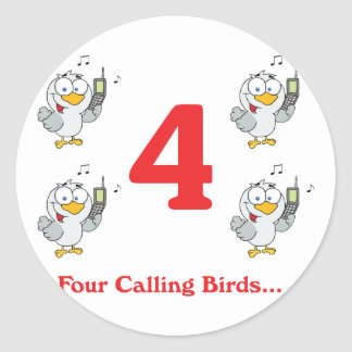 12 días cuatro pájaros de llamada etiquetas redondas