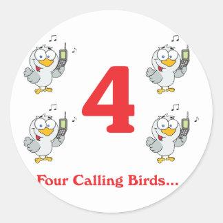 12 días cuatro pájaros de llamada pegatina redonda