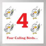 12 días cuatro pájaros de llamada posters