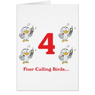 12 días cuatro pájaros de llamada tarjeton