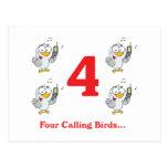 12 días cuatro pájaros de llamada tarjetas postales