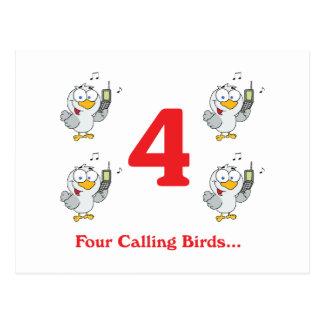 12 días cuatro pájaros de llamada tarjeta postal