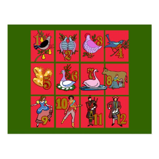 12 días de camisetas del navidad, ropa, regalos tarjeta postal