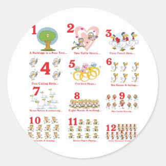 12 días de los twelves de navidad terminan etiquetas redondas