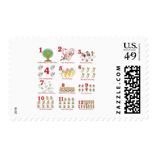 12 días de los twelves de navidad terminan timbre postal