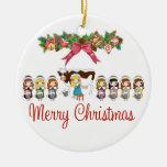 12 días de navidad adorno redondo de cerámica