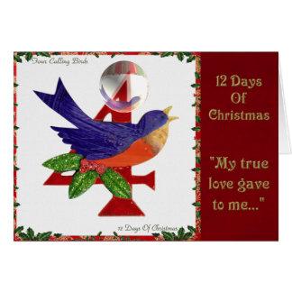12 días de navidad cuatro pájaros de llamada tarjeta de felicitación