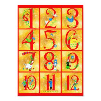 """12 días de números de arte popular de la canción invitación 4.5"""" x 6.25"""""""