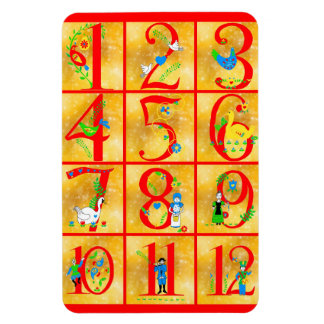 12 días de números de arte popular de la canción rectangle magnet