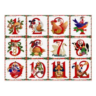 12 días de regalos de la impresión del edredón del tarjetas postales