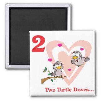 12 días dos palomas de la tortuga imán cuadrado