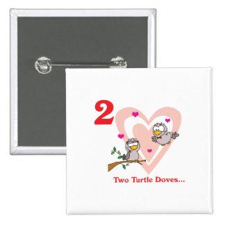 12 días dos palomas de la tortuga pin cuadrado