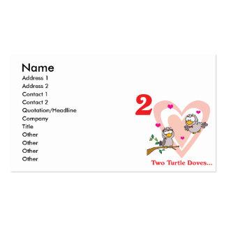 12 días dos palomas de la tortuga tarjetas de visita