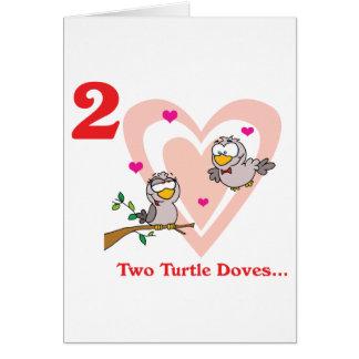 12 días dos palomas de la tortuga tarjeta de felicitación