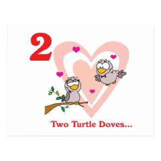 12 días dos palomas de la tortuga tarjeta postal