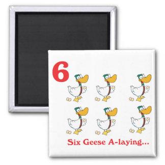 12 días seis uno-colocaciones de los gansos imán cuadrado