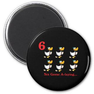 12 días seis uno-colocaciones de los gansos imán redondo 5 cm