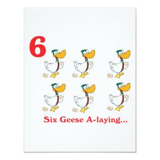 """12 días seis uno-colocaciones de los gansos invitación 4.25"""" x 5.5"""""""